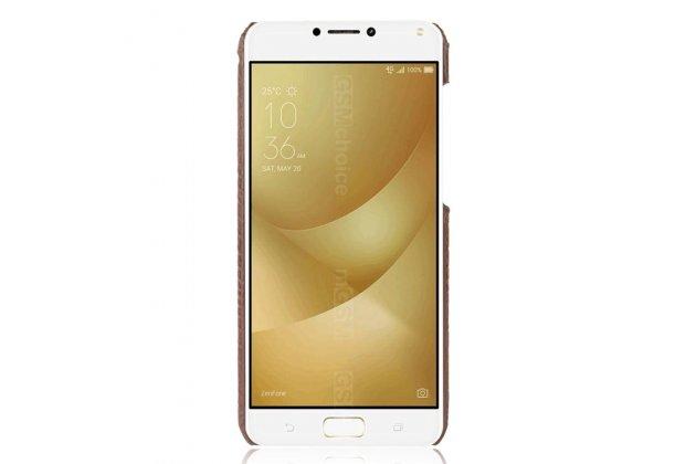 """Фирменная задняя панель-крышка на пластиковой основе обтянутая фактурной кожей для ASUS ZenFone 4 Max ZC520KL (A006/4A032RU) 5.2"""" / Android 7.0 белая"""