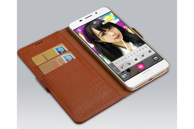 """Фирменный чехол-книжка из кожи крокодила с подставкой застёжкой и визитницей для ASUS ZenFone 4 Max ZC520KL (A006/4A032RU) 5.2"""" / Android 7.0 темно-коричневый"""