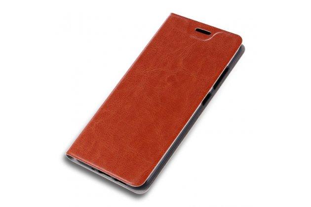 """Фирменный чехол-книжка из качественной импортной кожи с мульти-подставкой и визитницей для ASUS ZenFone 4 Max ZC520KL (A006/4A032RU) 5.2"""" / Android 7.0 коричневый"""