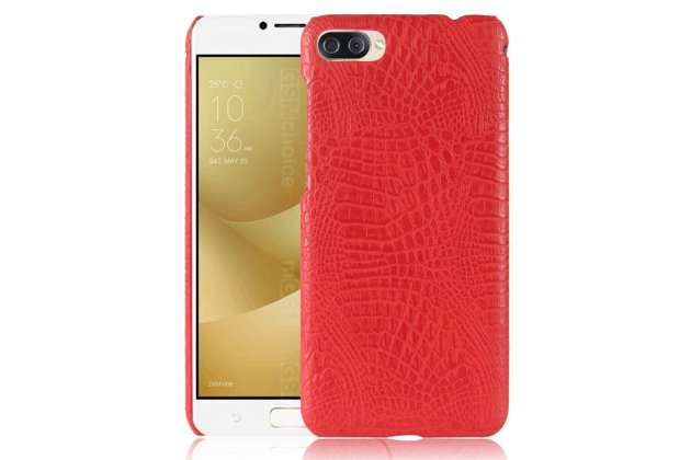 """Фирменная задняя панель-крышка на пластиковой основе обтянутая фактурной кожей для ASUS ZenFone 4 Max ZC520KL (A006/4A032RU) 5.2"""" / Android 7.0 красная"""