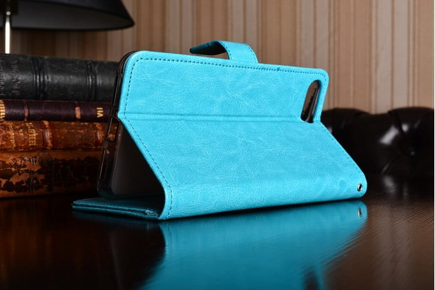 Фирменный чехол-книжка из качественной импортной кожи с подставкой застёжкой и визитницей для Асус Зенфон 4 Макс ЗС554КЛ 5.5 голубой