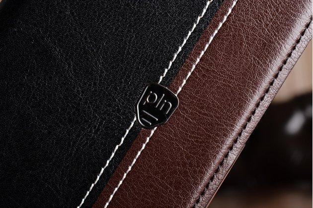 Фирменный премиальный элитный чехол-книжка из качественной импортной кожи с мульти-подставкой и визитницей для Asus Zenfone 4 Max ZC554KL 5.5 черно-коричневый
