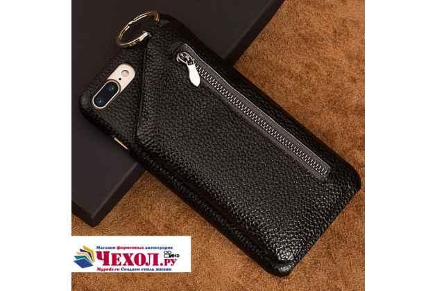 Фирменная роскошная элитная премиальная задняя панель-крышка для Asus Zenfone 4 Max ZC554KL 5.5 из качественной кожи с визитницей черный
