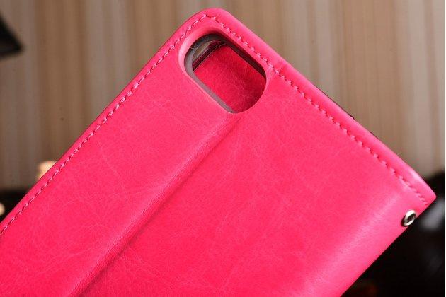 Фирменный чехол-книжка из качественной импортной кожи с подставкой застёжкой и визитницей для Асус Зенфон 4 Макс ЗС554КЛ 5.5 розовый