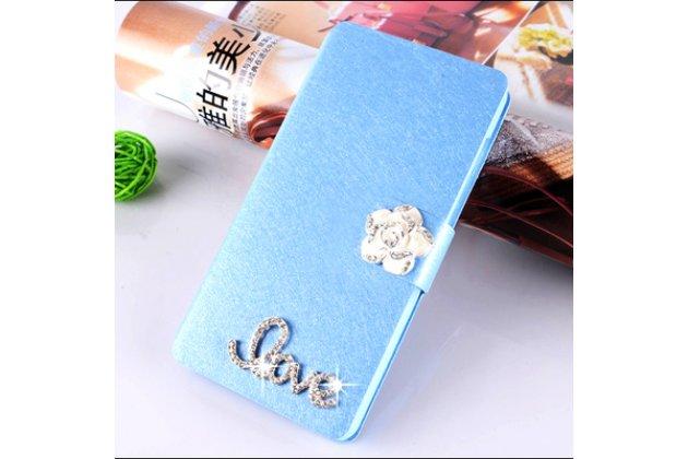 Фирменный роскошный чехол-книжка безумно красивый декорированный бусинками и кристаликами на Asus Zenfone 4 Max ZC554KL 5.5 голубой