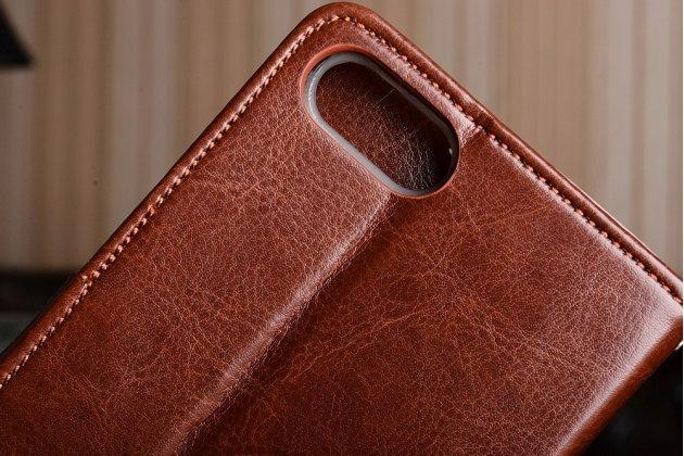 Фирменный чехол-книжка из качественной импортной кожи с подставкой застёжкой и визитницей для Asus Zenfone 4 Max ZC554KL 5.5 коричневый