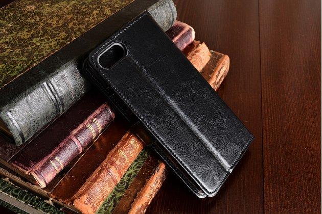 Фирменный чехол-книжка из качественной импортной кожи с подставкой застёжкой и визитницей для Asus Zenfone 4 Max ZC554KL 5.5 черный