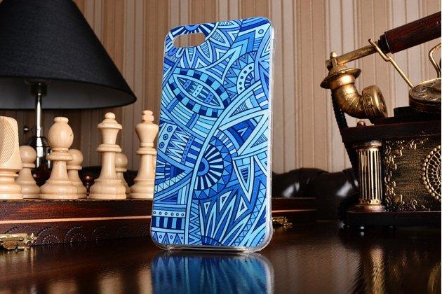 Фирменная ультра-тонкая полимерная из мягкого качественного силикона задняя панель-чехол-накладка для Asus Zenfone 4 Max ZC554KL 5.5 синие узоры