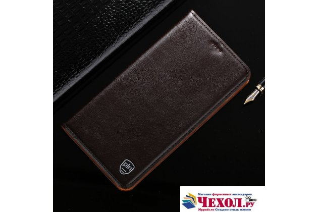 Фирменный премиальный чехол бизнес класса для ASUS ZenFone 4 Pro ZS551KL с визитницей из качественной импортной кожи коричневый