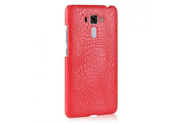Фирменная роскошная элитная премиальная задняя панель-крышка на пластиковой основе обтянутая лаковой кожей крокодила  для ASUS ZenFone 4 Pro ZS551KL красный