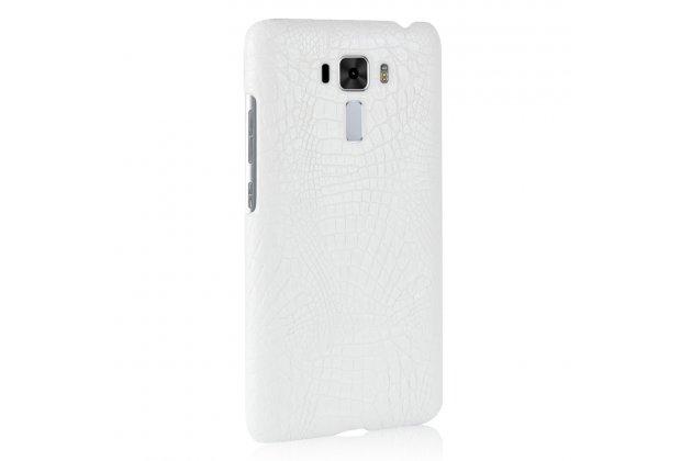 Фирменная роскошная элитная премиальная задняя панель-крышка на пластиковой основе обтянутая лаковой кожей крокодила  для ASUS ZenFone 4 Pro ZS551KL белый
