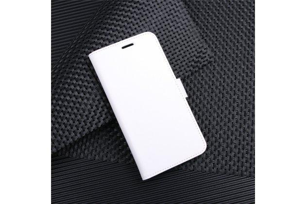 Фирменный чехол-книжка из качественной импортной кожи с подставкой застёжкой и визитницей для ASUS ZenFone 4 Pro ZS551KL белый