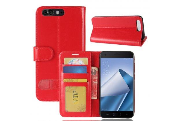 Фирменный чехол-книжка из качественной импортной кожи с подставкой застёжкой и визитницей для ASUS ZenFone 4 Pro ZS551KL красный