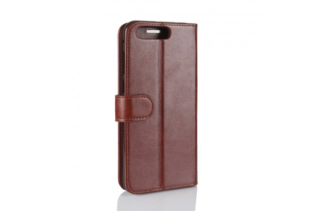 Фирменный чехол-книжка из качественной импортной кожи с подставкой застёжкой и визитницей для ASUS ZenFone 4 Pro ZS551KL коричневый