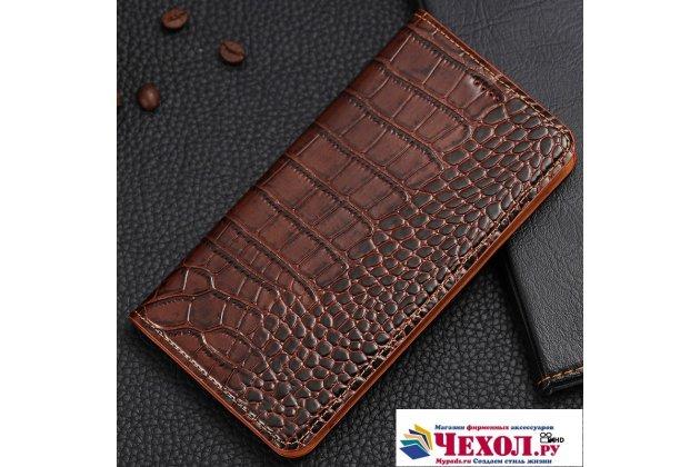 Фирменный роскошный эксклюзивный чехол с фактурной прошивкой рельефа кожи крокодила и визитницей коричневый для ASUS ZenFone 4 Pro ZS551KL. Только в нашем магазине. Количество ограничено