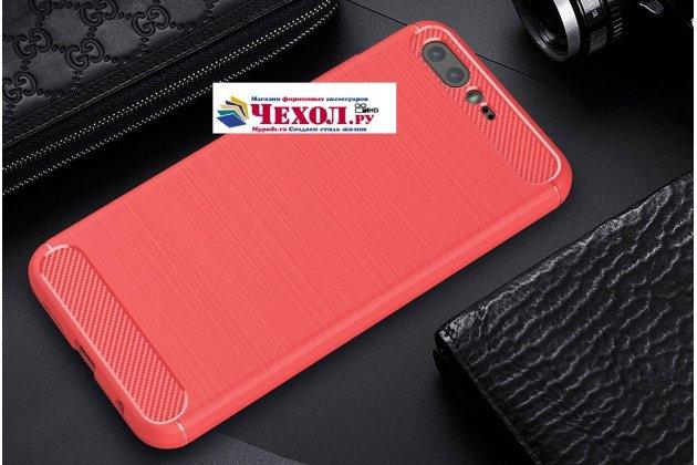 """Задняя панель-крышка из тончайшего мягкого силикона для ASUS ZenFone 4 Pro ZS551KL с матовой отделкой """"под карбон"""" красная"""