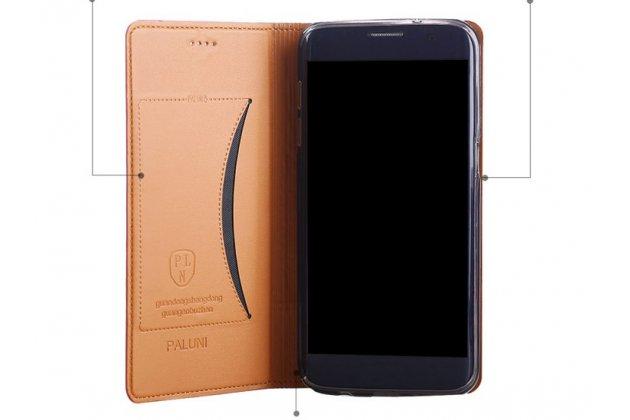 Фирменный премиальный элитный чехол-книжка из качественной импортной кожи с мульти-подставкой и визитницей для ASUS ZenFone 4 Selfie Pro ZD552KL коричневый