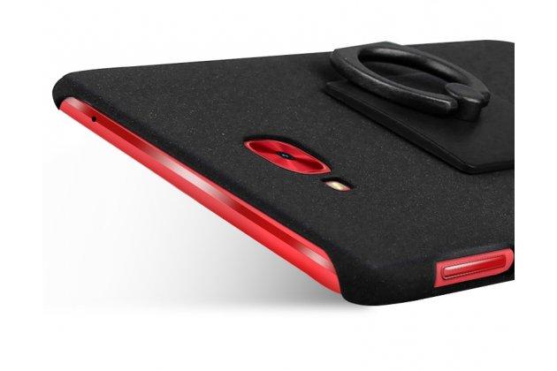 Задняя панель-крышка из прочного пластика с матовым противоскользящим покрытием для ASUS ZenFone 4 Selfie Pro ZD552KL с подставкой в черном цвете