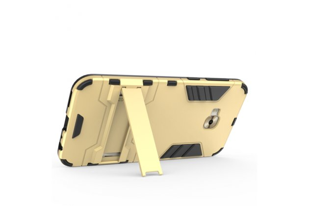 Противоударный усиленный ударопрочный фирменный чехол-бампер-пенал для ASUS ZenFone 4 Selfie Pro ZD552KL золотой