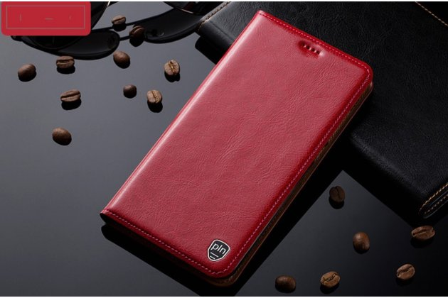 Фирменный премиальный чехол-книжка для ASUS ZenFone 4 Selfie Pro ZD552KL с визитницей из качественной импортной кожи цвет Темно-красный