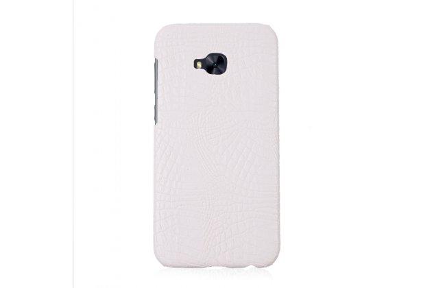 Фирменная роскошная элитная премиальная задняя панель-крышка на пластиковой основе обтянутая лаковой кожей крокодила  для ASUS ZenFone 4 Selfie Pro ZD552KL белый
