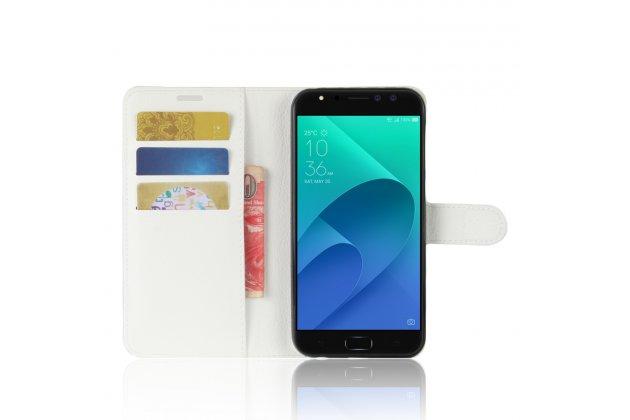 Фирменный чехол-книжка из качественной импортной кожи с подставкой застёжкой и визитницей для ASUS ZenFone 4 Selfie Pro ZD552KL белый
