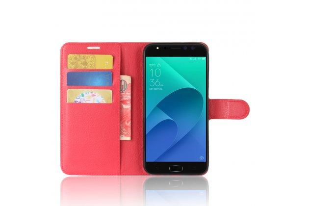 Фирменный чехол-книжка из качественной импортной кожи с подставкой застёжкой и визитницей для ASUS ZenFone 4 Selfie Pro ZD552KL красный