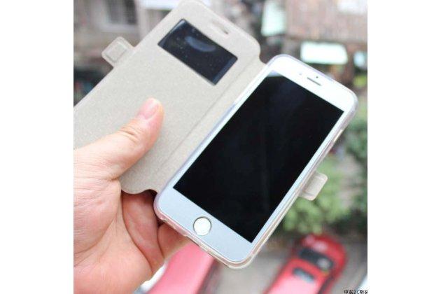 Фирменный оригинальный чехол-книжка для ASUS ZenFone 4 Selfie Pro ZD552KL золотой с окошком для входящих вызовов водоотталкивающий