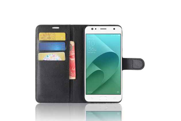 Фирменный чехол-книжка из качественной импортной кожи с подставкой застёжкой и визитницей для ASUS ZenFone 4 Selfie ZD553KL черный
