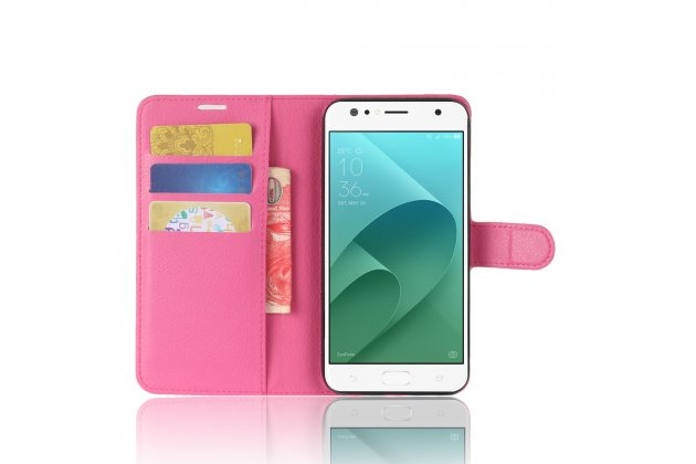 Фирменный чехол-книжка из качественной импортной кожи с подставкой застёжкой и визитницей для ASUS ZenFone 4 Selfie ZD553KL розовый