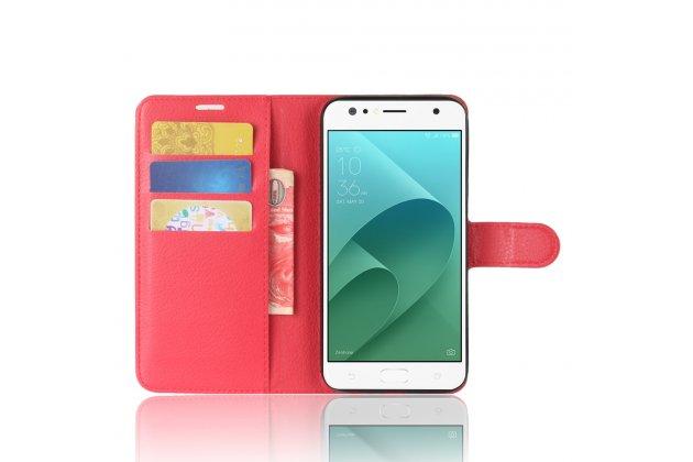 Фирменный чехол-книжка из качественной импортной кожи с подставкой застёжкой и визитницей для ASUS ZenFone 4 Selfie ZD553KL красный