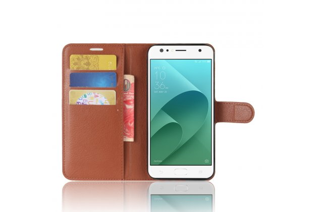 Фирменный чехол-книжка из качественной импортной кожи с подставкой застёжкой и визитницей для ASUS ZenFone 4 Selfie ZD553KL коричневый