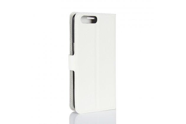 Фирменный чехол-книжка из качественной импортной кожи с подставкой застёжкой и визитницей для ASUS ZenFone 4 ZE554KL белый