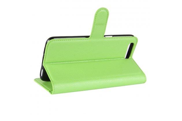 Фирменный чехол-книжка из качественной импортной кожи с подставкой застёжкой и визитницей для ASUS ZenFone 4 ZE554KL зеленый