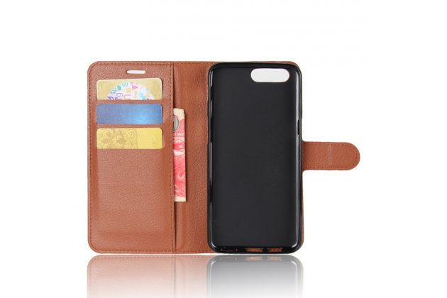 Фирменный чехол-книжка из качественной импортной кожи с подставкой застёжкой и визитницей для ASUS ZenFone 4 ZE554KL коричневый
