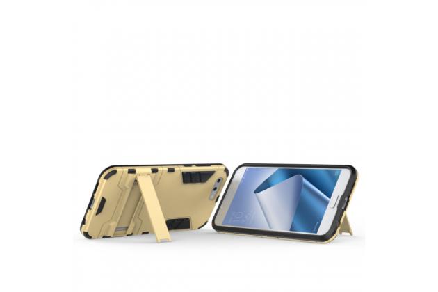 Противоударный усиленный ударопрочный фирменный чехол-бампер-пенал для ASUS ZenFone 4 ZE554KL золотой