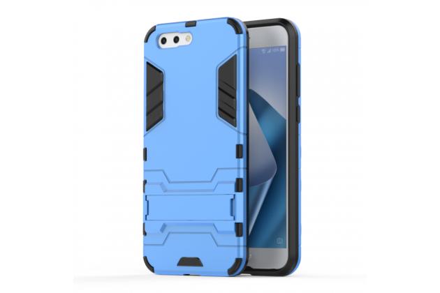 Противоударный усиленный ударопрочный фирменный чехол-бампер-пенал для ASUS ZenFone 4 ZE554KL голубой