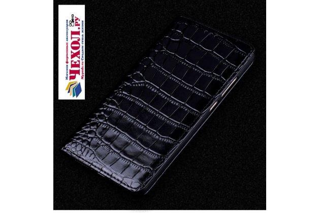 Фирменный роскошный эксклюзивный чехол с фактурной прошивкой рельефа кожи крокодила и визитницей черный для ASUS ZenFone 4 ZE554KL. Только в нашем магазине. Количество ограничено