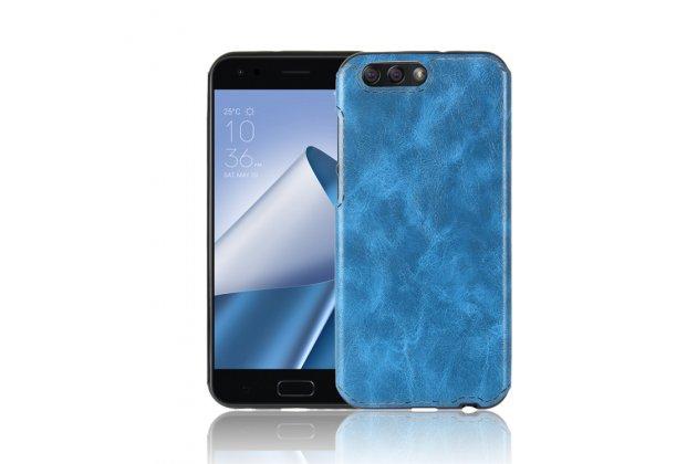 Фирменная премиальная элитная крышка-накладка из качественного силикона с дизайном под кожу для ASUS ZenFone 4 ZE554KL  синяя