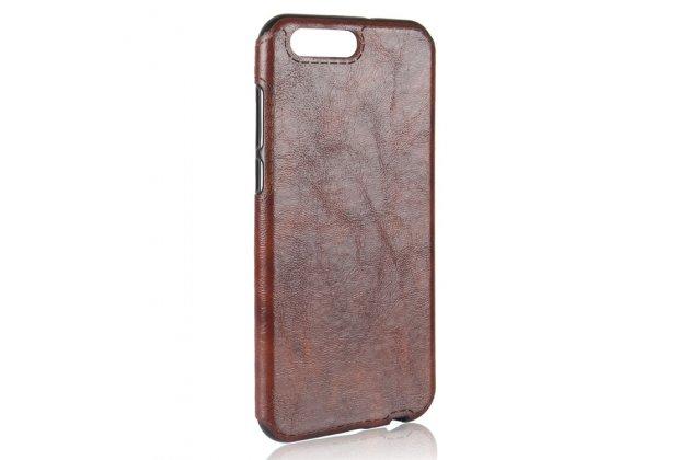 Фирменная премиальная элитная крышка-накладка из качественного силикона с дизайном под кожу для ASUS ZenFone 4 ZE554KL  коричневая