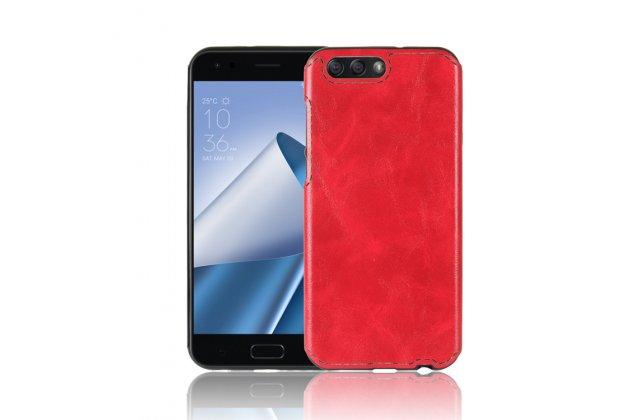 Фирменная премиальная элитная крышка-накладка из качественного силикона с дизайном под кожу для ASUS ZenFone 4 ZE554KL  красная