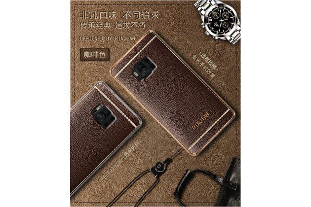 Фирменная премиальная элитная крышка-накладка на ASUS ZenFone AR ZS571KL коричневая  из качественного силикона с дизайном под кожу