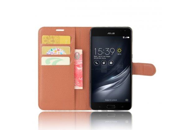 Фирменный чехол-книжка из качественной импортной кожи с мульти-подставкой застёжкой и визитницей для ASUS ZenFone AR ZS571KL  коричневый