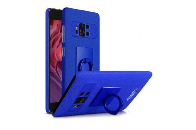 Задняя панель-крышка из прочного пластика с матовым противоскользящим покрытием для ASUS ZenFone AR ZS571KL с подставкой в синем цвете