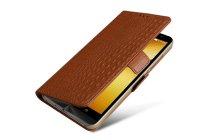 Фирменный чехол-книжка с подставкой для Asus Zenfone Go 4.5 ZB452KG (X014D) лаковая кожа крокодила коричневого цвета