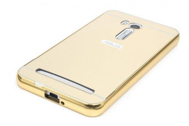 Фирменная металлическая задняя панель-крышка-накладка из тончайшего облегченного авиационного алюминия для ASUS ZenFone Go ZB552KL 5.5 (X007D)  золотая