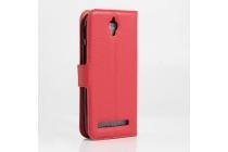 Фирменный чехол-книжка из качественной импортной кожи с мульти-подставкой застёжкой и визитницей для Asus Zenfone Go ZC451TG 4.5 (Z00SD) красного цвета