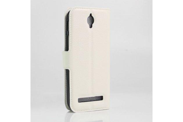Фирменный чехол-книжка из качественной импортной кожи с мульти-подставкой застёжкой и визитницей для Asus Zenfone Go ZC451TG 4.5 (Z00SD) белого цвета