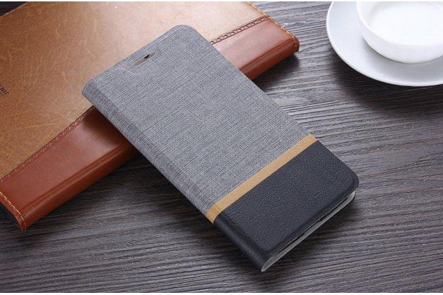 Фирменный чехол-книжка из качественной импортной кожи с мульти-подставкой застёжкой и визитницей для ASUS ZenFone Live ZB501KL цвет серый