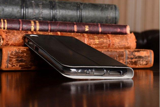 Фирменный чехол-книжка из качественной водоотталкивающей импортной кожи на жёсткой металлической основе для ASUS ZenFone Live ZB501KL черный